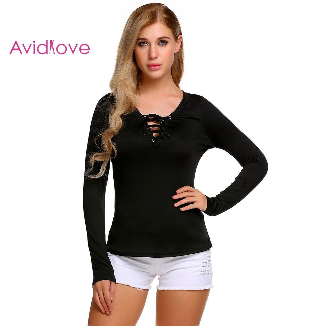 c28ac82c0 Hot Sale Women Fashion V-Neck Long Sleeve Solid Lace-up T-Shirt